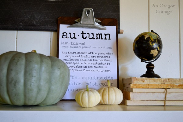 Autumn Clipboard on Fall 2014 Mantel - An Oregon Cottage