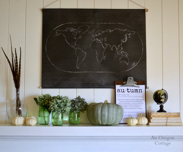 Chalkboard Map and Pumpkins-Autumn 2014 Mantel