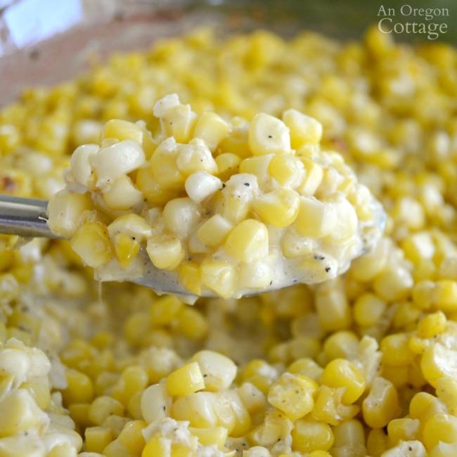 Creamy Corn Bake on spoon