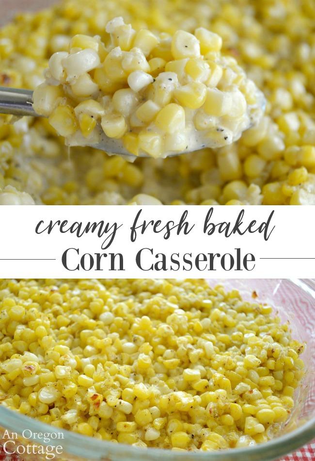Creamy fresh baked corn casserole