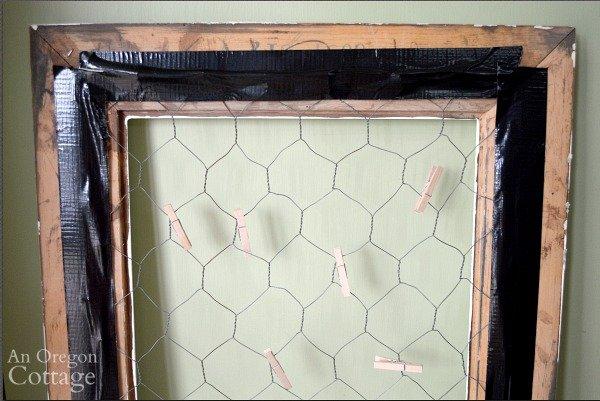 DIY chicken wire photo holder back