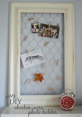 Easy DIY Chicken Wire Photo Holder From a Thrifted Frame