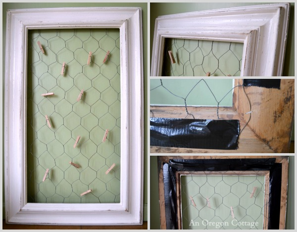 Easy DIY Chicken-Wire Photo Holder From a Thrifted Frame - An Oregon Cottage
