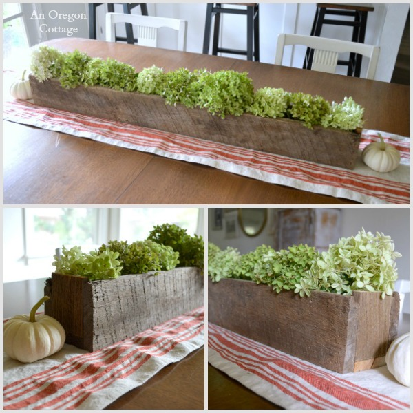 Fall Decor Barn Wood Trough with Hydrangeas - An Oregon Cottage