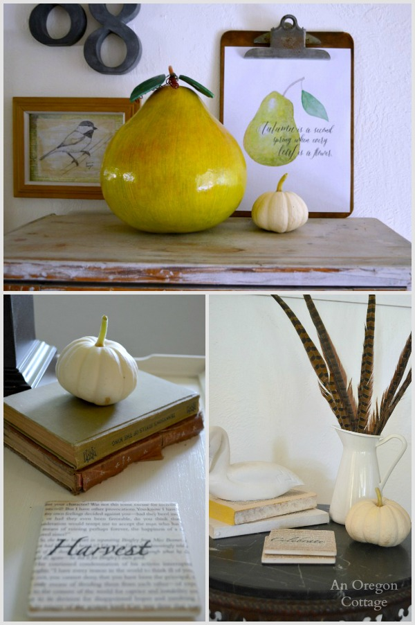Fall Pumpkin Feathers and Pear Decor - An Oregon Cottage