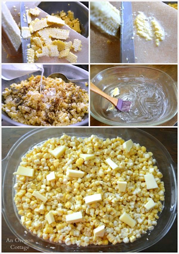Making Creamy Fresh Baked Corn