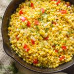 Corn Pepper Onion Saute above in pan