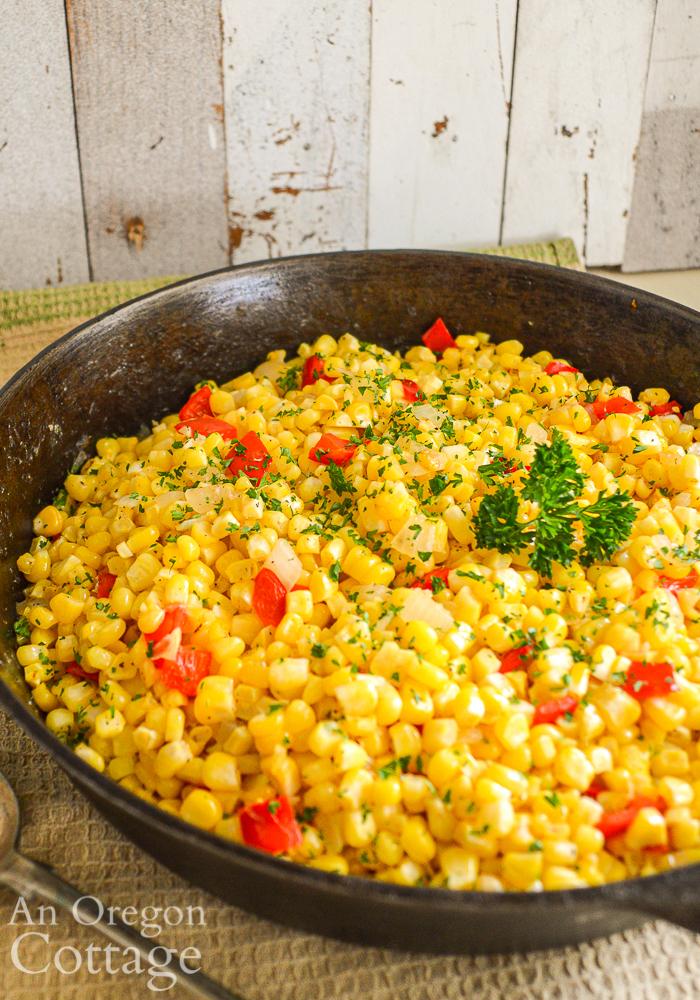 Corn Pepper Onion Saute in skillet