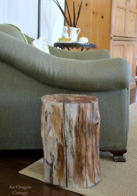 DIY Wood Stump Side Table - An Oregon Cottage