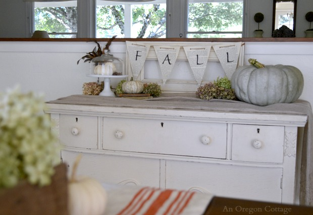 Fall Book Page Banner Sideboard with Jarrahdale Pumpkin and Hydrangeas - An Oregon Cottage