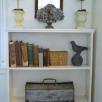 Living Room Bookshelf with Rusty Toolbox
