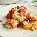 Mediterranean Fish Bake with fork
