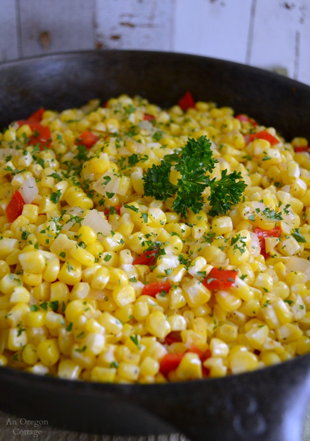 Quick and Easy Corn Red Pepper and Onion Sauté - An Oregon Cottage