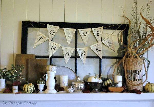 Simple Seasonal Book Page Give Thanks Banner - An Oregon Cottage
