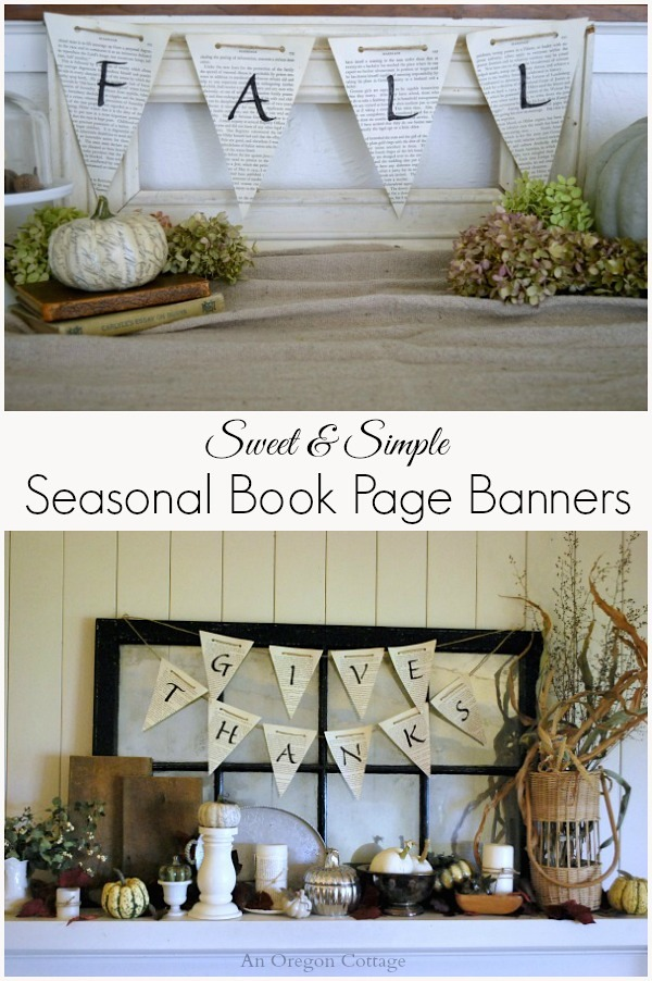 Sweet and Simple Seasonal Book Page Banners - An Oregon Cottage