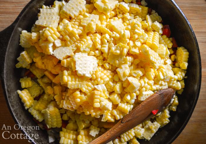 fresh cut corn in pan