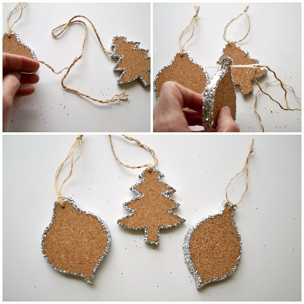 Attaching hangers to Glittered Cork Ornaments