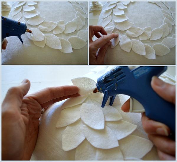 No-Sew DIY Felt Wreath Pillow-Gluing Leaves