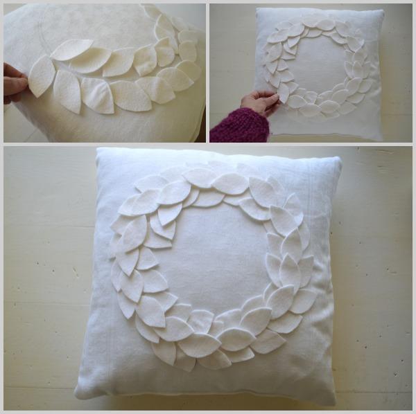 No-Sew DIY Felt Wreath Pillow-Arranging Felt Leaves