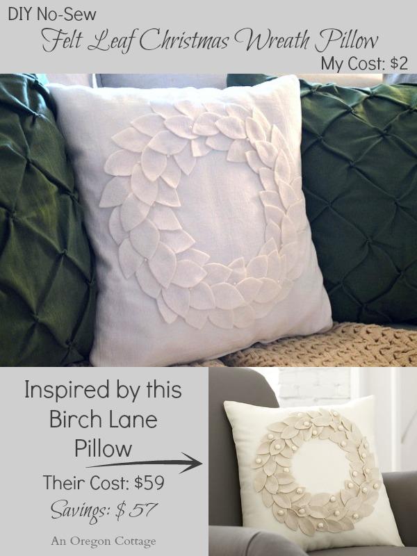 No-Sew DIY Felt Wreath Pillow for Winter Decor- A Birch Lane Knockoff