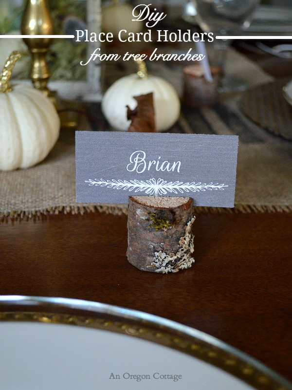 DIY Wood Place Card Holder from Tree Branches