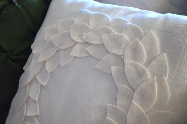 Felt Leaf and Pearl Wreath Pillow