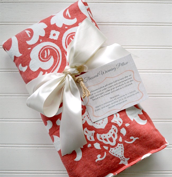 DIY flaxseed heat pad-warming pillow video and gift tags