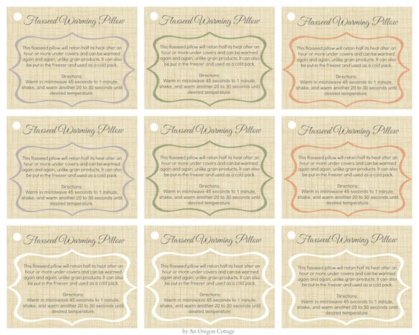 Flaxseed Warming Pillows Gift Tags via An Oregon Cottage
