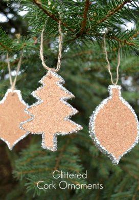 Glittered Cork Ornaments - An Oregon Cottage