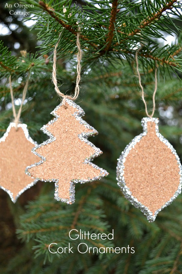 crate barrel inspired glittered cork ornaments - Crate And Barrel Christmas Decorations