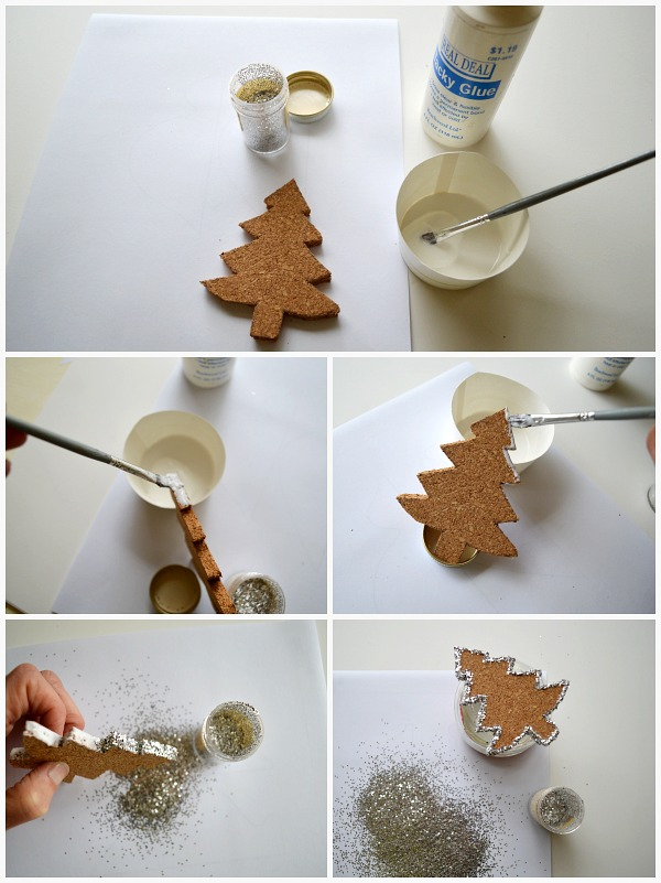 Glittering Cork Christmas Ornaments