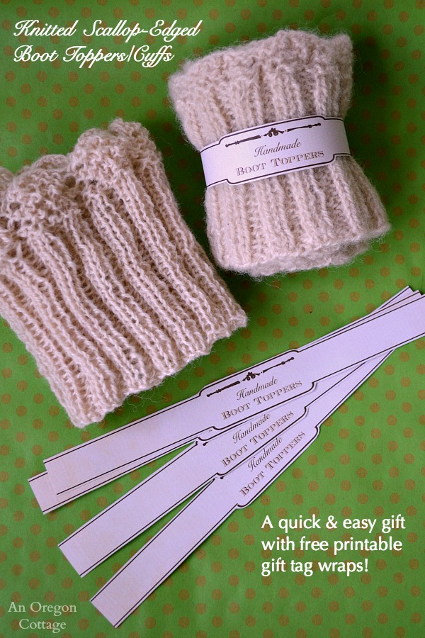 Knitted Scallop Edged Boot Toppers Free Printable Gift Labels
