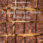 grain free peanut butter brownies above pin