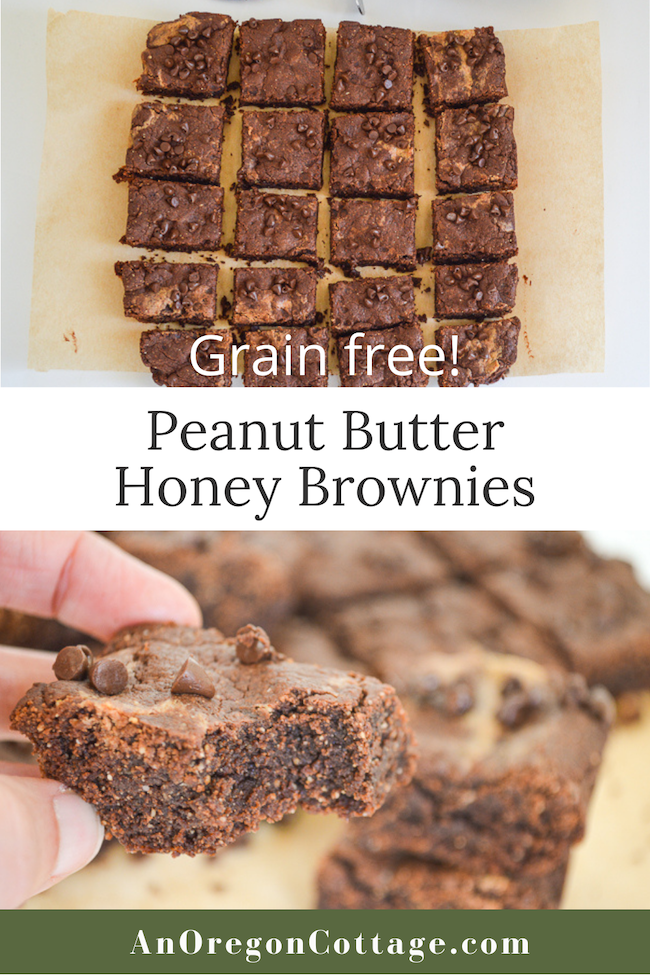 peanut butter honey brownies pin image