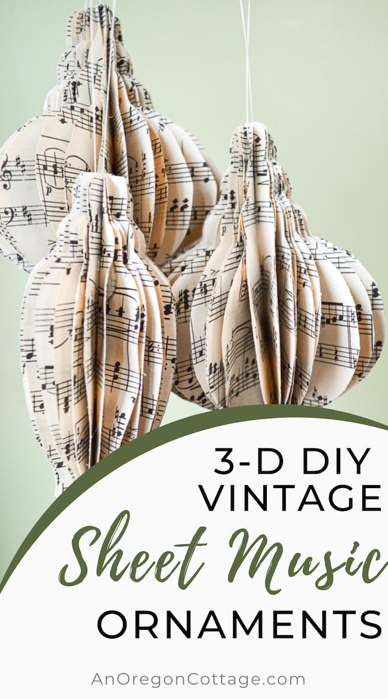 3-D DIY sheet music ornaments
