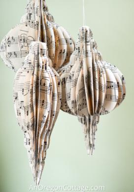 3-d sheet music ornaments