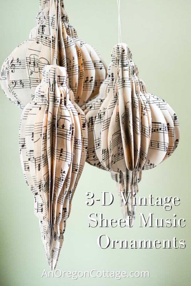 3-d vintage sheet music ornaments