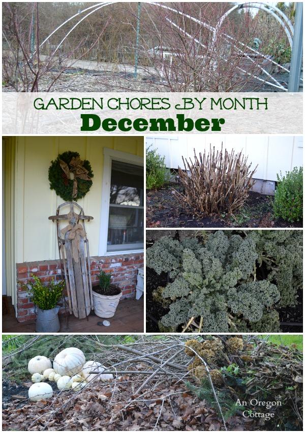 December garden chores collage