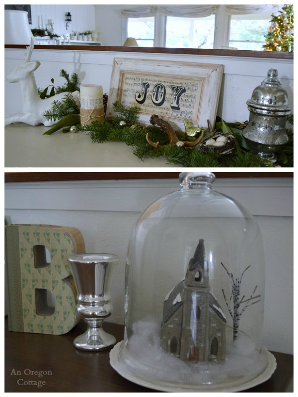 Cottage Christmas Joy Sideboard-Cloche