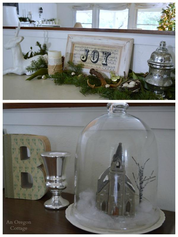 Cottage Christmas Joy Sideboard-Cloche