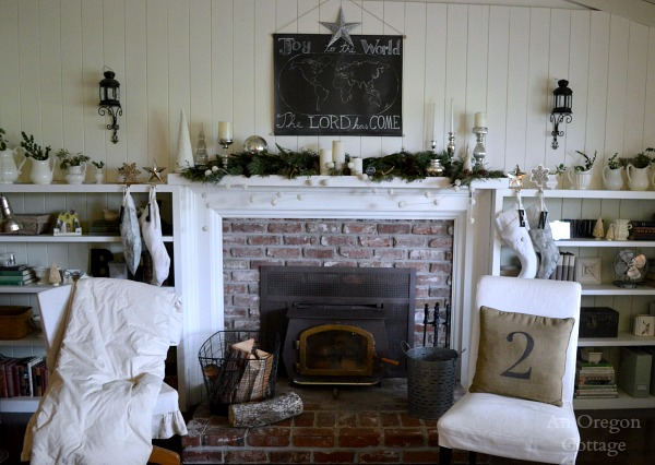 Cottage Christmas Mantel Wall- White Chalkboard, Mercury Glass & Greenery