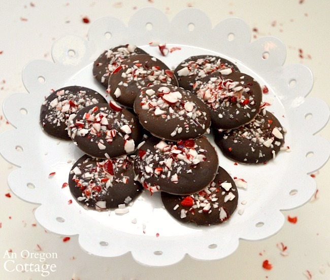 Maple Sweetened Chocolate Peppermint Wafers on stand