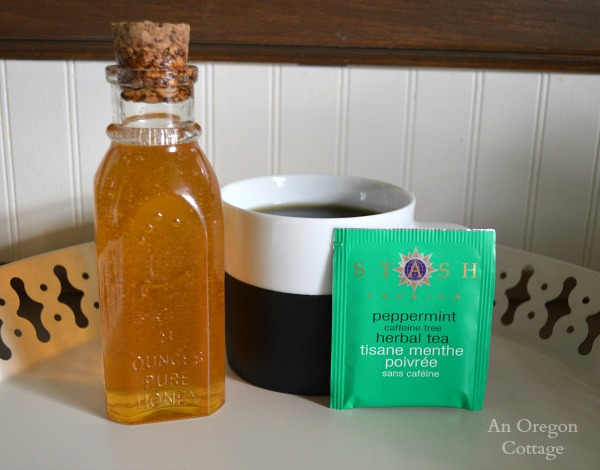 Natural Healing with Oat Straw and Nettle Tea flavored with honey and peppermint