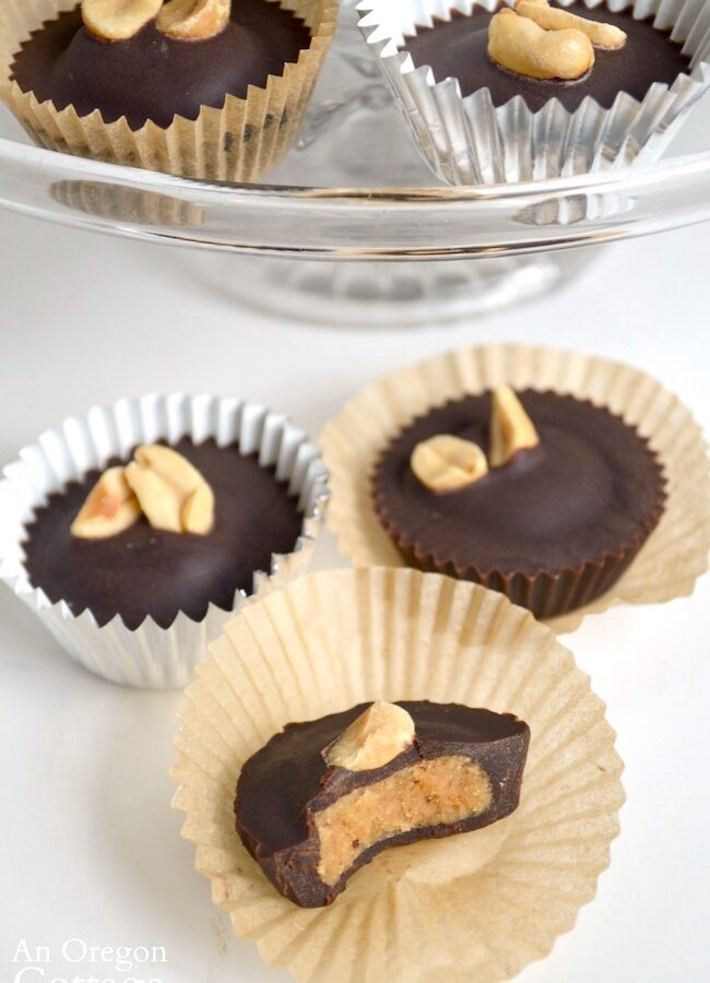 Peanut Butter Chocolate Cups with stand