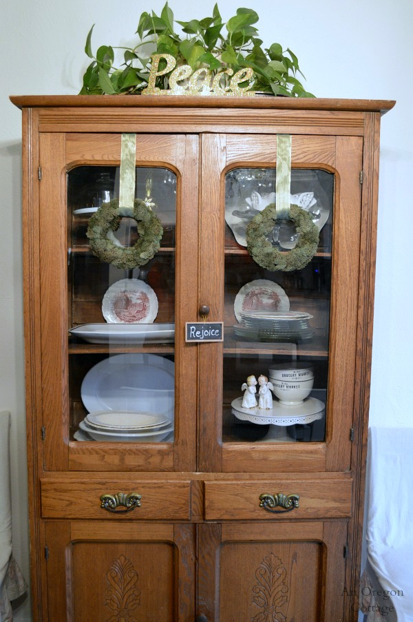 Christmas Decorating Antique China Cabinet An Oregon Cottage