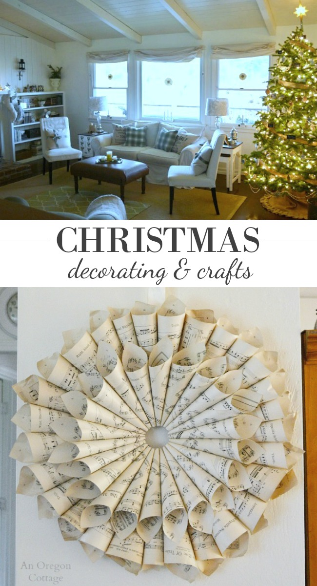 Vintage Farmhouse Christmas decorating and crafts at AnOregonCottage.com