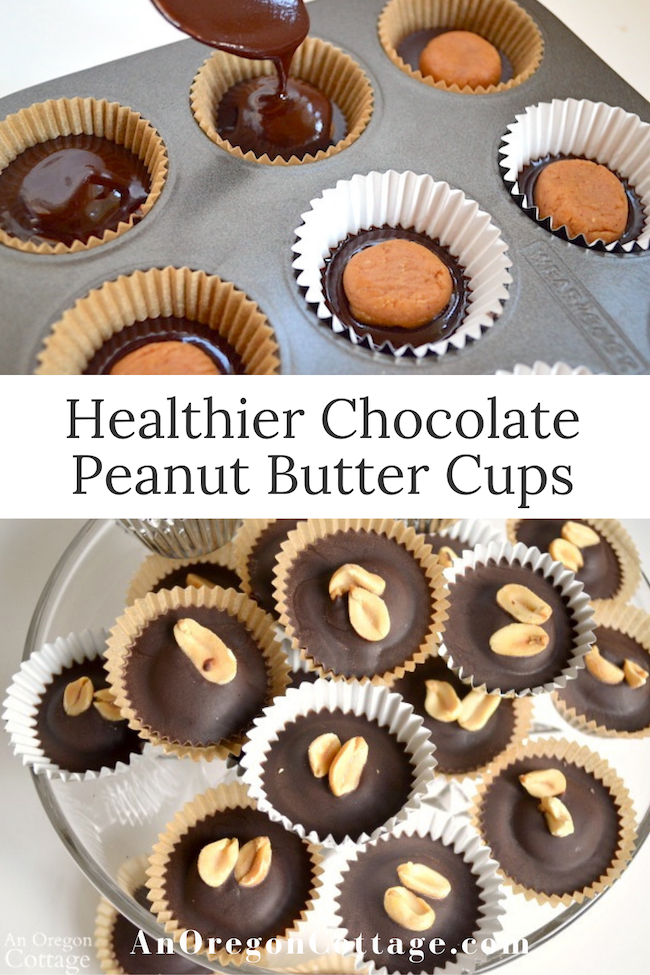 healthier chocolate peanut butter cups pin