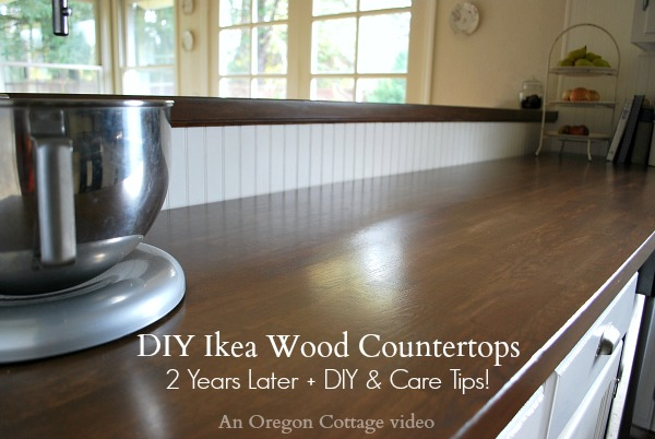 Diy ikea wood butcher block countertops 2 years later for Installing butcher block countertops