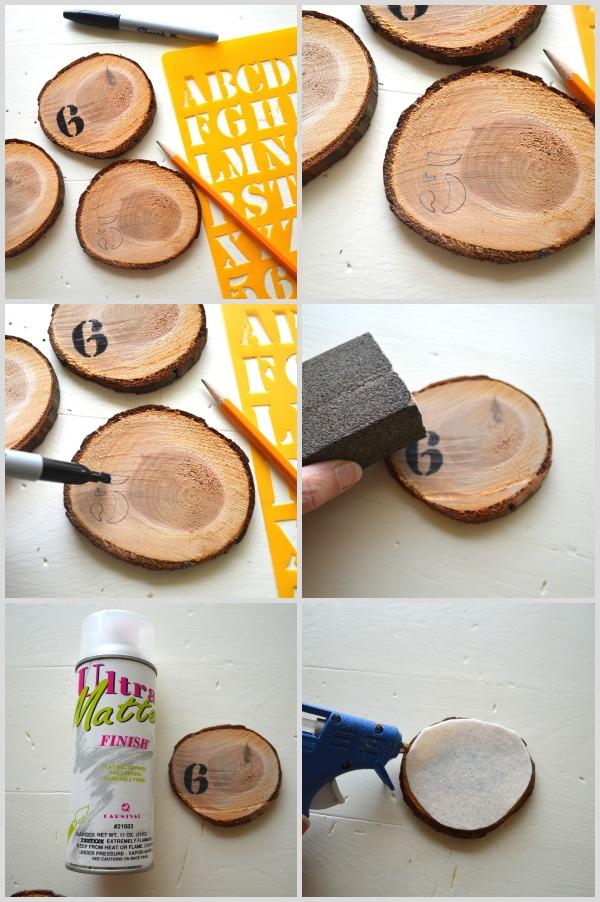 DIY Numbered Wood Slice Coasters Steps