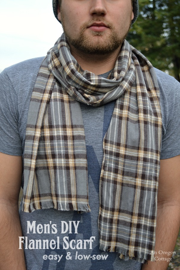 Easy, Low Sew Men's DIY Flannel Scarf
